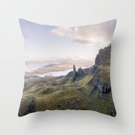 Landscape mountain view Scotland Isle of Skye Throw Pillow
