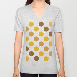 Warm Colors Dotted Pattern Yellow Gold and Brown Unisex V-Neck
