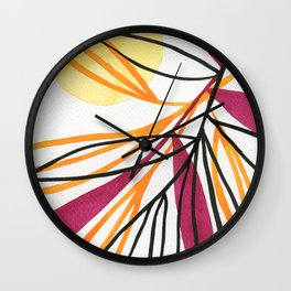Sun and leaves Wall Clock