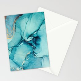 Abstract Turquoise Art Print By LandSartprints Stationery Cards