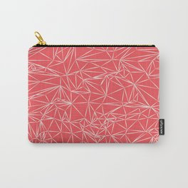 Coral Pink Geometric Carry-All Pouch