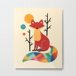 Rainbow Fox Metal Print