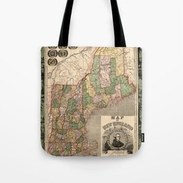 Map of New England 1847 Tote Bag