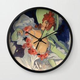 Alcazar D Te Lidia 1893 By Jules Cheret | Reproduction Art Nouveau Wall Clock