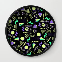 Geometrical retro lime green neon purple 80's abstract pattern Wall Clock