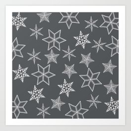 Simple Snowflakes On Grey Background Art Print