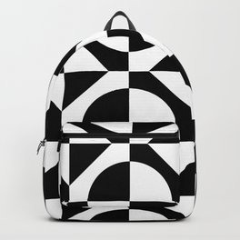 Black & White Checkered Squares & Circles 60's Two Tone Ska Pattern Backpack