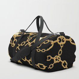 Gold chains on black Duffle Bag