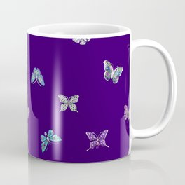 Christmas Butterfly Ornaments on purple Coffee Mug