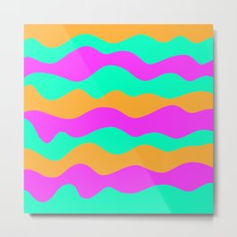Copy of vibrant vivid abstract pink, green and blue ocean waves decorative modern graphic design Metal Print