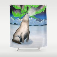 howl Shower Curtains featuring ★ ARCTIC HOWL by MS THOMASSEN