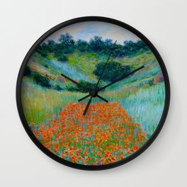 Claude Monet Impressionist Landscape Oil Painting Poppy Field in a Hollow near Giverny Wall Clock