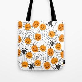 Halloween Pattern Spider Pumpkin Tote Bag