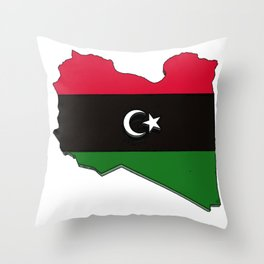 Libya Map with Libyan Flag Throw Pillow