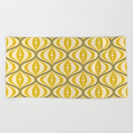Retro Mid-Century Saucer Pattern in Yellow, Gray, Cream Beach Towel