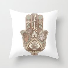 Hamsa Hand Faded Colour Throw Pillow