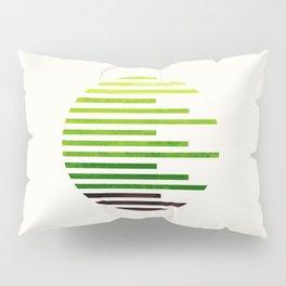 Mid Century Modern Minimalist Circle Round Photo Sap Green Staggered Stripe Pattern Pillow Sham
