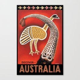 1953 Discover Australia Travel Poster Canvas Print