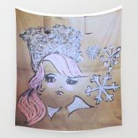 lara croft Wall Tapestries featuring Pink Ladies: Lara by Amy Burvall