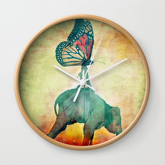 The elephant and the butterfly Wall Clock
