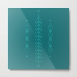 Blue Circle and Triangle Totem One Metal Print