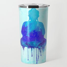 Watercolor zen Buddha blue Travel Mug