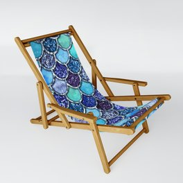 Colorful Teal & Blue Watercolor & Glitter Mermaid Scales Sling Chair