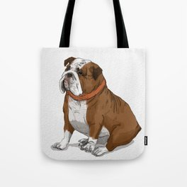 English Bulldog with Red Scarf Tote Bag