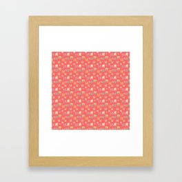 Colorful bunnies on salmon/pink Framed Art Print