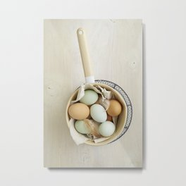 Organic eggs from Easter egger chicken Metal Print