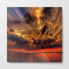 Sunset over the stone jetties of Jerusalem fishing village, Rhode Island Metal Print