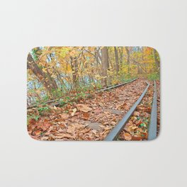 Abandoned Autumn Railroad Bath Mat
