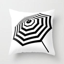 Chic Black and White Striped Beach Umbrella Throw Pillow