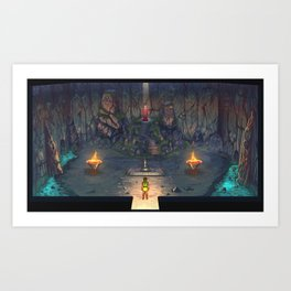 it's dangerous to go alone cave painting Art Print