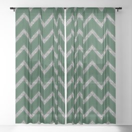 Potterverse Chevrons - Slytherin Green Sheer Curtain