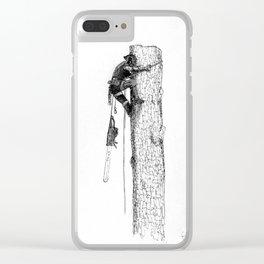 Tree surgeon Arborist using large stihl chainsaw Clear iPhone Case