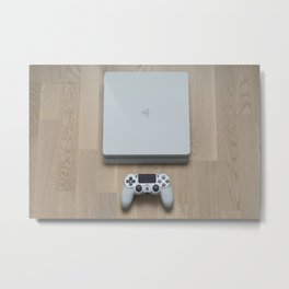 Sony PlayStation 4 Slim Glacier White gaming console Metal Print