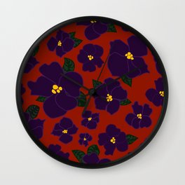 African Violets on red Wall Clock