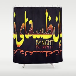 Istanbul By Night Skyline Cityscape Typography Shower Curtain