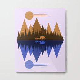 Bear & Cubs Metal Print