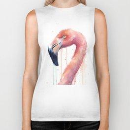 Pink Flamingo Painting Biker Tank
