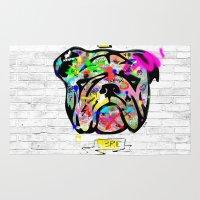 bulldog Area & Throw Rugs featuring Bulldog by morganPASLIER