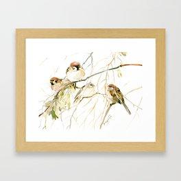 Sparrows on Tree, sparrow bird art decor brown Framed Art Print