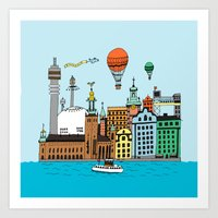 stockholm Art Prints featuring Stockholm by Adam Lindfors