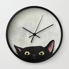 Curious Black Cat Wall Clock