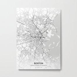 Boston city map white Metal Print