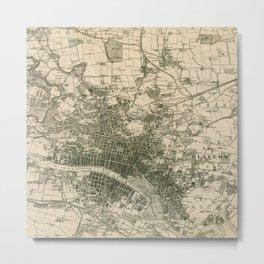 Glasgow old map Metal Print