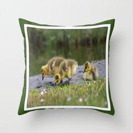 goslings getting their grub on Throw Pillow