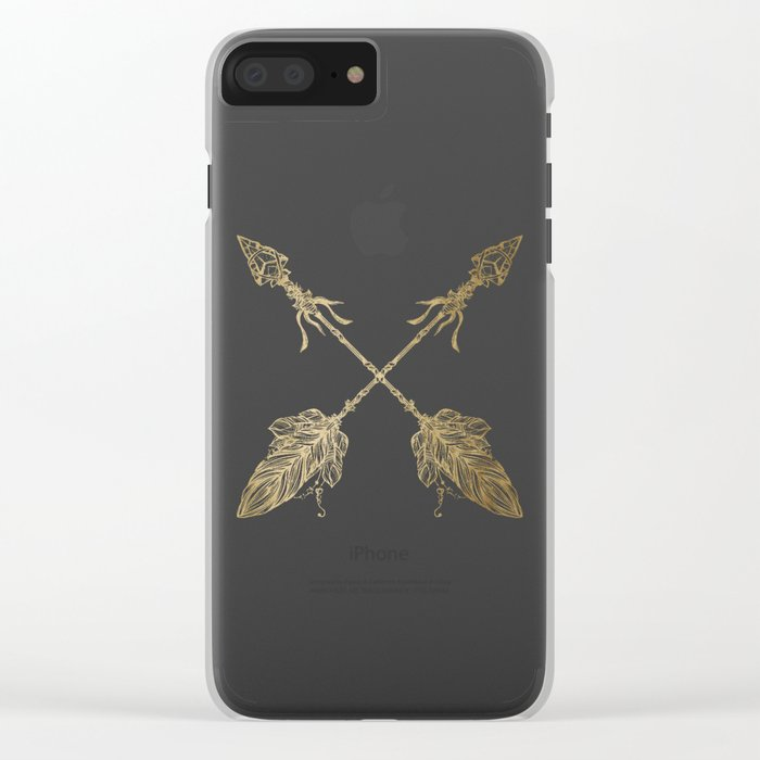 Tribal Arrows Gold on White Clear iPhone Case