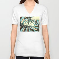 music notes V-neck T-shirts featuring Music by Phil Perkins